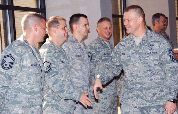 Chief Master Sgt. of the Air Force James A. Roy (right) meets members of the Senior NCO Academy staff Sept. 25, 2009, at Gunter Annex of Maxwell Air Force Base, Ala. (U.S. Air Force photo/Melanie Rodgers Cox)