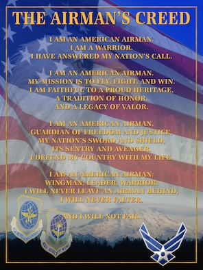 """Airman's Creed"" poster, high resolution file available upon request. (U.S. Air Force graphic/Adamarie Lewis-Paige)"