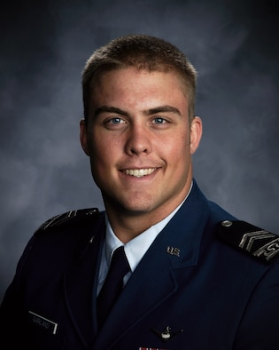 """Cadet 1st Class Ben Garland, seen here in his 2008-2009 yearbook photo, will be featured on CBS College Sports Network's """"Inside Academy Football,"""" scheduled to air Oct. 9 from 5-5:30 p.m. Mountain Standard Time. CBS-C will also carry the Air Force-TCU game, scheduled to kick off Oct. 10 at 5:30 p.m. MST. American Forces Network TV will simulcast the CBS-C coverage to viewers overseas. (U.S. Air Force photo courtesy of Cadet Wing Media)"""