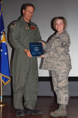 Master Sgt. Melody Younger, 926th Force Support Squadron, was recognized Oct. 3 as Senior Non-commissioned Officer of the Half. (U.S. Air Force Reserve photo by Capt. Jessica Martin)