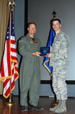 Capt. Michael Horner, 926th Group, was recognized Oct. 3 as the Company Grade Officer of the Half. (U.S. Air Force Reserve photo by Capt. Jessica Martin)