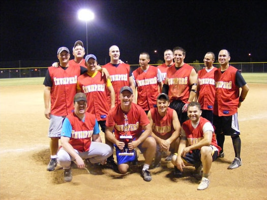 "The 513th Air Control Group Softball team ""Thumpers"" were victorious recently, taking the Tinker AFB Softball Championship title.  This was the first time in 37 years of Reserve forces on base to claim this title."