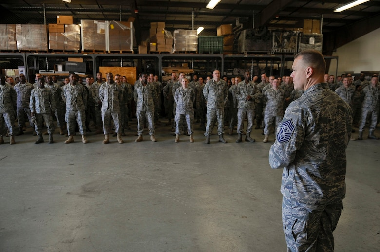 Chief Master Sgt. of the Air Force James A. Roy speaks with members of the 316th Civil Engineer Squadron Oct. 7, 2009, at Joint Base Andrews Naval Air Facility Washington. Chief Roy used his background as a heavy equipment operator to relate to the squadron and help give them insight into the recent increase in CE deployments and special taskings. Chief Roy also stressed the importance of spouses and family members and their role in keeping a healthy and effective Air Force. (U.S. Air Force photo/Senior Airman Steven R. Doty)