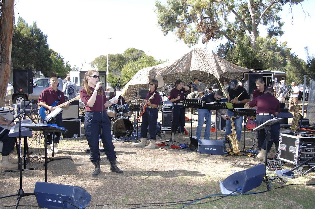 Members of the 561st Band of the West Coast from the 129th Rescue Wing perform for family and friends at the annual Family Day Picnic hosted Oct. 4 at Moffett Federal Airfield, Calif. (Air National Guard photo by Master Sgt. Dan Kacir)