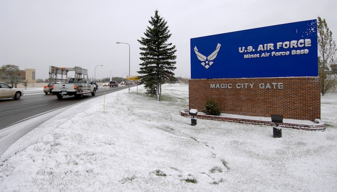 MINOT AIR FORCE BASE, N.D. -- Team Minot experienced its first snow fall of the season here, Oct. 14. Knowing what each road condition means during the winter months is vital to mission success. (U.S. Air Force photo by Senior Airman Matthew Smith)