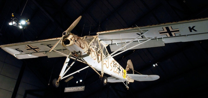 DAYTON, Ohio -- Fieseler Fi-156C-1 Storch in the World War II Gallery at the National Museum of the United States Air Force. (U.S. Air Force photo)