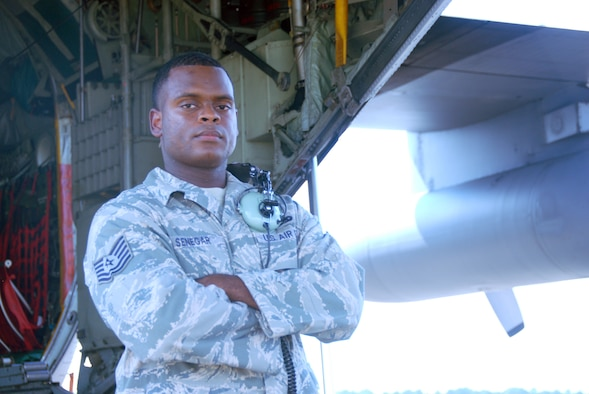 """Tech. Sgt. Victor Senegar Jr. is a 3-year Air Reserve Technician at Maxwell Air Force Base, Ala. The Montgomery, Ala., native is a quality assurance aircraft maintenance inspector enjoys the travel and his coworkers most about his job. """"Everybody works together and we have a good time while doing it."""" (U.S. Air Force photo/Tech. Sgt. Christian Michael)"""