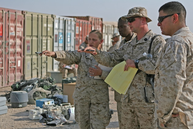Petty Officer 1st Class William Morris (center), a hospital corpsman and the leading petty officer with 2nd Medical Logistics Company, Combat Logistics Regiment 27 (Forward), shows Marines where to place medical logistics supplies that are ready to be retrograded from Camp Al Taqaddum, Iraq, Oct. 14, 2009.  Marines and sailors with CLR-27 (Fwd) are currently in the process of completing a responsible drawdown to remove equipment and gear out of Iraq by the summer of 2010.  (U.S. Marine Corps photograph by Gunnery Sgt. Katesha Washington)