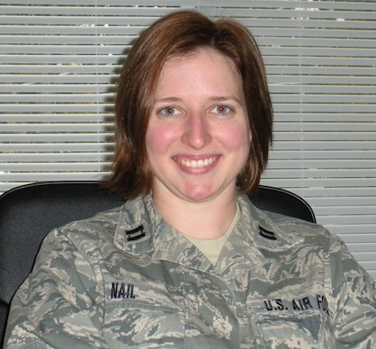 OFFUTT AIR FORCE BASE, Neb. - Capt. Susan Nail, a contracting officer with the 55th Contracting Squadron, poses for a photo recently. Six years after signing up for the C.W. Bill Young Department of Defense Marrow Donor Program, Captain Nail was notified she was a match for a 2-year-old girl diagnosed with sever aplastic anemia. Photo courtesy of Capt. Susan Nail