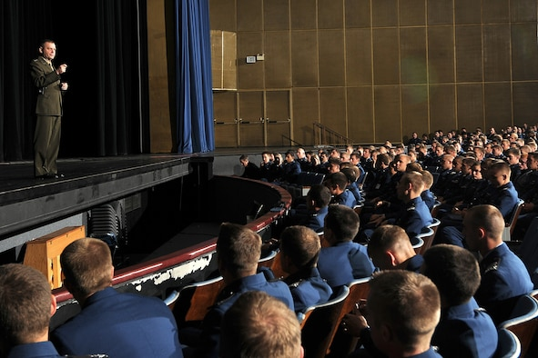 Marine Gen. James Cartwright speaks to cadets during the 2009 Academy Assembly at the U.S. Air Force Academy's Arnold Hall Theater Oct. 8, 2009. General Cartwright is the vice chairman of the Joint Chiefs of Staff. (U.S. Air Force photo/Rachel Boettcher)
