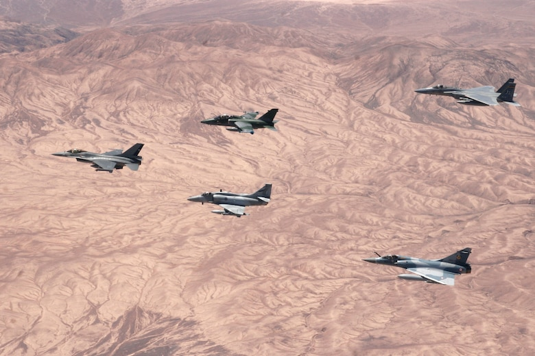 ANTOFAGASTA, Chile -- Chile, Argentina, Brazil, France and the United States participate in a dissimilar aircraft formation during Exercise SALITRE II hosted by Chile. (U.S. Air Force Photo by Technical Sergeant Travis Burke)