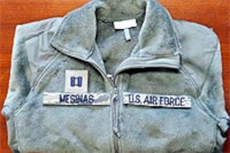 New AF fleece jacket with name tapes and rank.