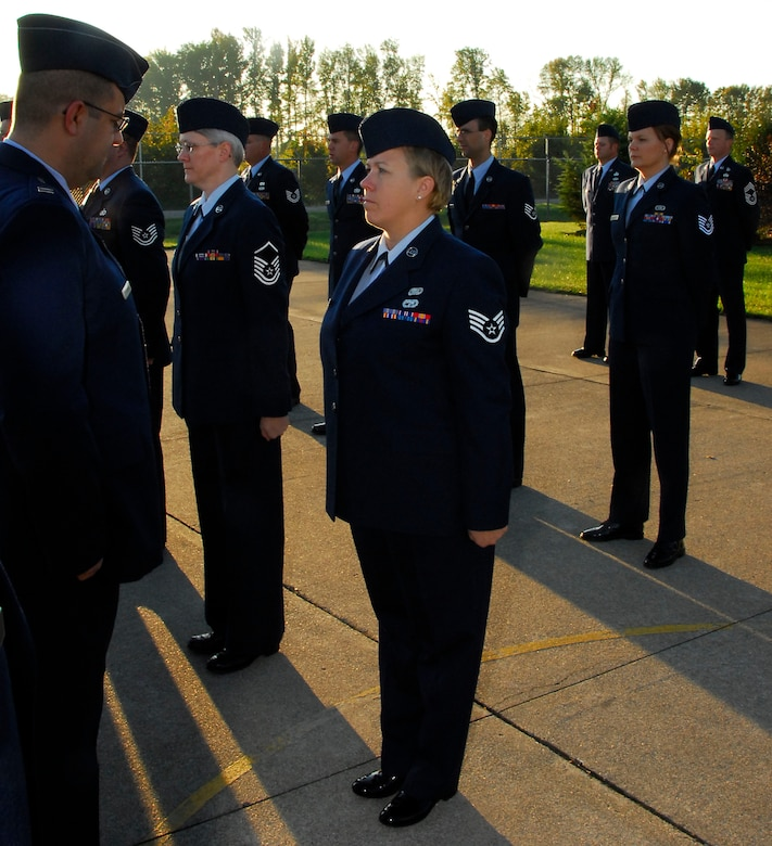 """""""Staying Sharp"""" and """"Always Ready"""" Capt John A. Petrowski, Commander, 181st Communications Flight, performs Open Ranks inspection during the October UTA. Photo by MSgt John Day"""