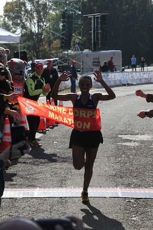 The top female finisher of the 34th Marine Corps Marathon was Ethiopian Muliye Gurmu, 25, with a time of 2:49:48. Jaymee Marty, 42, of Sacromento, Calif., was the second female finisher in 2:50:15. Rounding out the top three was Kyla Barbour, 31, of Atlanta, Ga., in 2:50:47.