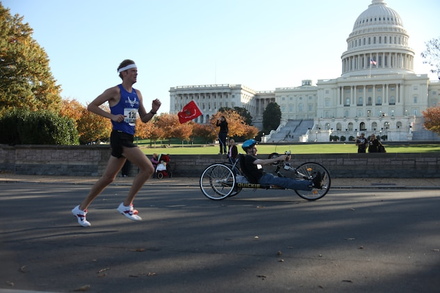 Nearly 21,000 runners crossed the start line at today's Marine Corps Marathon. The 26.2 mile race took participants on a journey through the streets of Arlington, Va., and Washington, D.C. culminating with a finish at the Marine Corps War Memorial.::r::::n::::r::::n::