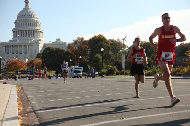 Nearly 21,000 runners crossed the start line at today's Marine Corps Marathon. The 26.2 mile race took participants on a journey through the streets of Arlington, Va., and Washington, D.C. culminating with a finish at the Marine Corps War Memorial.