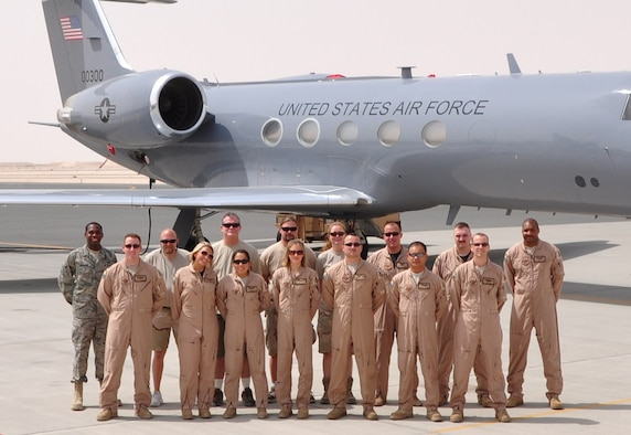 A team of 11 active-duty members from the 76th Airlift Squadron and four civilian maintenance contractors stand in front of one of Ramstein Air Base's C-20H aircraft. The team completed 144 sorties within the two-month period with flights throughout Europe and Southwest Asia. (Courtesy photo)