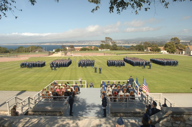 Members of the 311th and 314th Training Squadron stand at parade rest prior to the stand-up of the 517th Training Group at the Presidio of Monterey, Calif., May 15. The 517 TRG encompasses the two training squadrons and replaced the Air Force Element. (U.S. Air Force Photo/Tech. Sgt. John Barton)