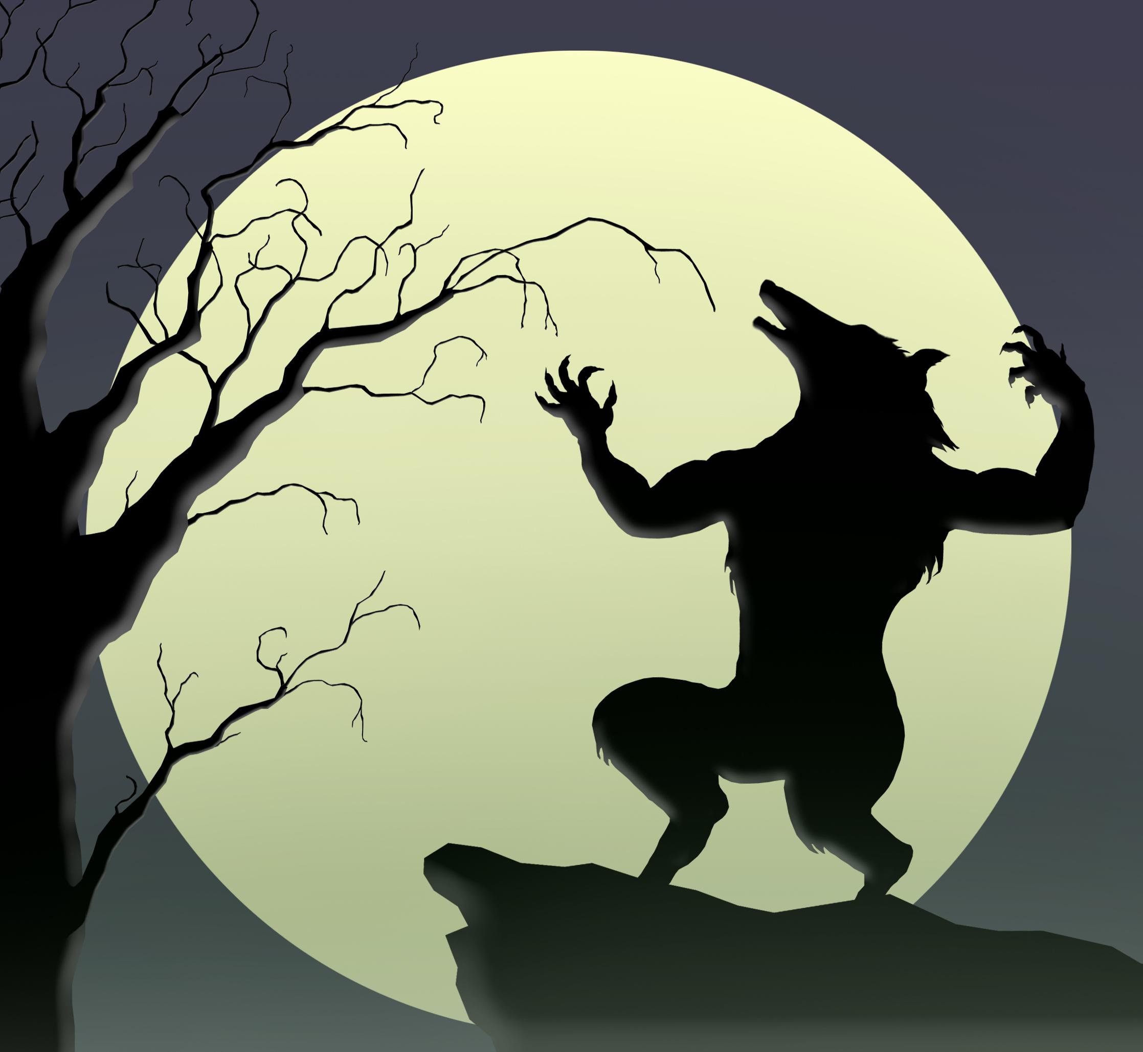 Cartoon werewolf howling at the moon