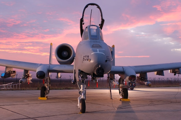CAMPIA-TURZII, Romania -- An A-10 Thunderbolt II assigned to the 81st Fighter Squadron stands ready on the flightline here Oct. 22 for an early-morning take-off. The 81st FS conducted more than 100 sorties during Dacian Thunder, a month-long combined exercise with the Romanian air force focused on enhancing their ability to execute combat search and rescue, air-to-air and air-to-ground, and weapons delivery missions. (U.S. Air Force photo/2nd Lt. Kathleen Polesnak)