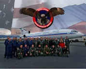ELMENDORF AIR FORCE BASE, Alaska -- Russian military members stand in front of a Russian TU-154 after a flyover mission here as part of the Open Skies Treaty. The Open Skies treaty, which was signed in the early 1992, is designed to enhance openness and cooperation between all participating countries.(U.S. Air Force photoillistration/ Staff Sgt. Joshua Garcia)