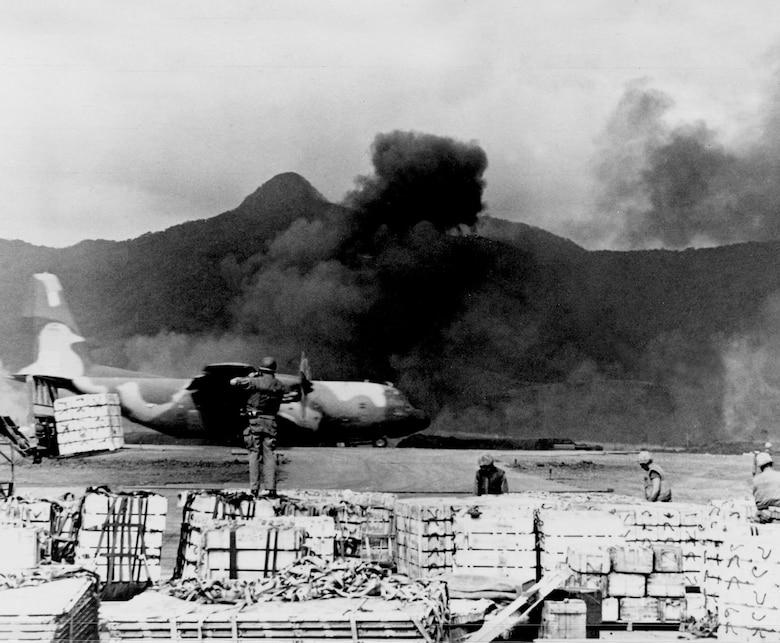 USAF C-130 taking off from Khe Sanh, 1968. (U.S. Air Force photo)