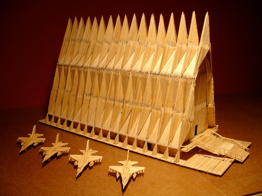 "Artist Stan Munro called Stephen ""Pete"" Peterson, the Cadet Chapel's public relations director, earlier in October 2009 regarding a 1:164 scale model of the famed chapel ... made of toothpicks. (Courtesy photo)"