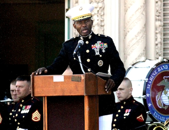 Brig. Gen. Ronald L. Bailey, commanding general, Marine Corps Recruit Depot San Diego and the Western Recruiting Region, thanks veterans for their service and dedication during the Massing of the colors and Service of Remembrance ceremony at the Spreckles Organ Pavilion in Balboa Park, San Diego, Oct 31, 2009.