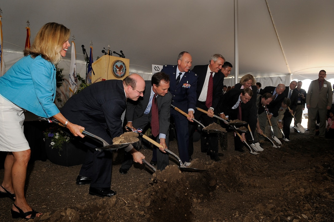 State representatives, Buckley Air Force Base and veterans affairs leadership, as well as veterans themselves, break ground on a new, state-of-the-art Veterans Affairs Medical Center Aug. 22. (U.S. Air Force photo by Senior Airman Erika Brooke)