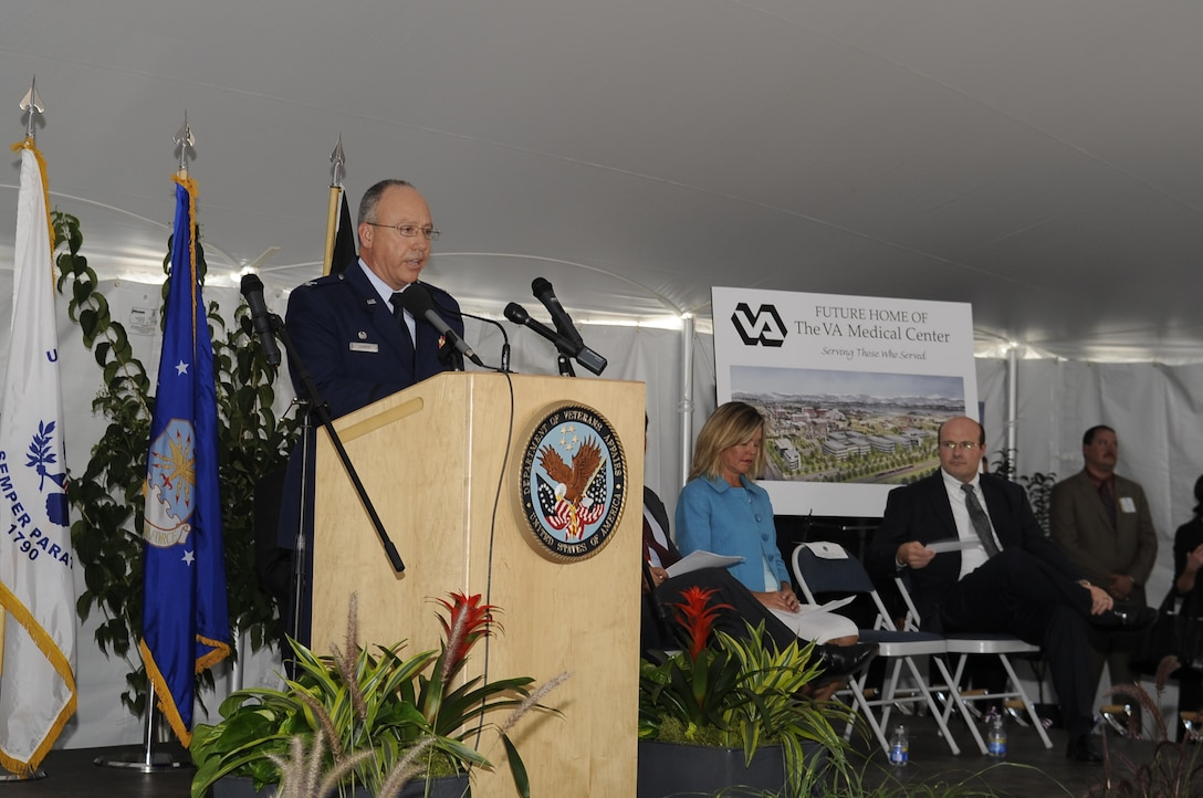 Col. Michael Chyrek, 460th Medical Group commander, says a few words about the importance of the hospital to both veterans and active-duty military during the groundbreaking. (U.S. Air Force photo by Senior Airman Erika Brooke)