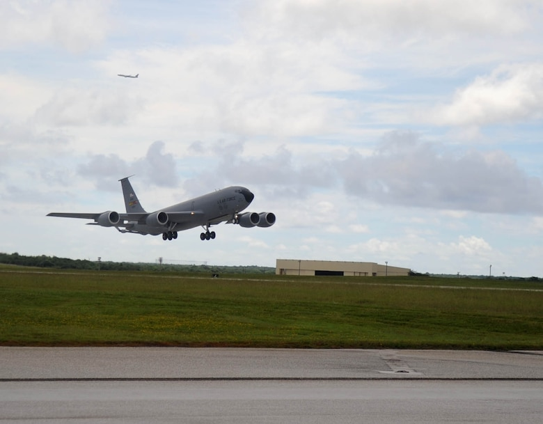 A KC-135 Stratotanker from the 506th Expeditionary Air Refueling Squadron,