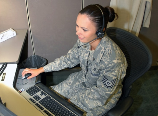 Tech. Sgt. Shannon Elliott is a customer service counselor in the Air Reserve Personnel Center's contact center. ARPC recently surpassed one million customer issues since the Center began using customer relationship management tools in 2004. (U.S. Air Force photo/Dwayne Beuthel)