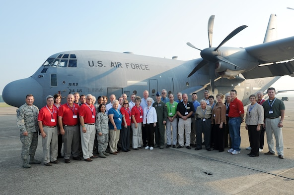 Col. C.K. Hyde, 314th Airlift Wing commander, hosted more than 40 civic leaders from central Arkansas Sept. 27 on a tour to Lockheed Martin C-130 production plant in Marietta, Ga. The day-long tour, which included a flight on the wing's C-130s, was planned to educate members of the community on C-130J Super Hercules' design and development focused on the aircraft's mission flexibility - combat delivery, air-to-air refueling, special operations, disaster relief and humanitarian missions. The tour serves to educate civic partners to the fact that our Air Force cannot operate alone. Their support is vital to accomplishing Team Little Rock's mission.