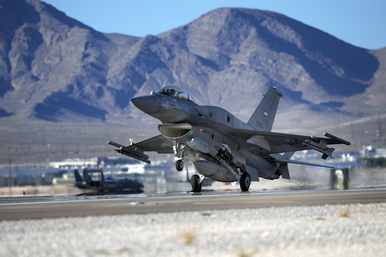 An F-16E from the United Arab Emirates lands after a training mission during Red Flag Aug. 26, 2009, at Nellis Air Force Base, Nev.  This is the first time the nation has participated in Red Flag, a realistic two-week air combat training exercise conducted over the 15,000-square-mile Nevada Test and Training Range north of Las Vegas.  The exercise ends Sept. 4. (U. S. Air Force photo/Tech. Sgt. Michael R. Holzworth)