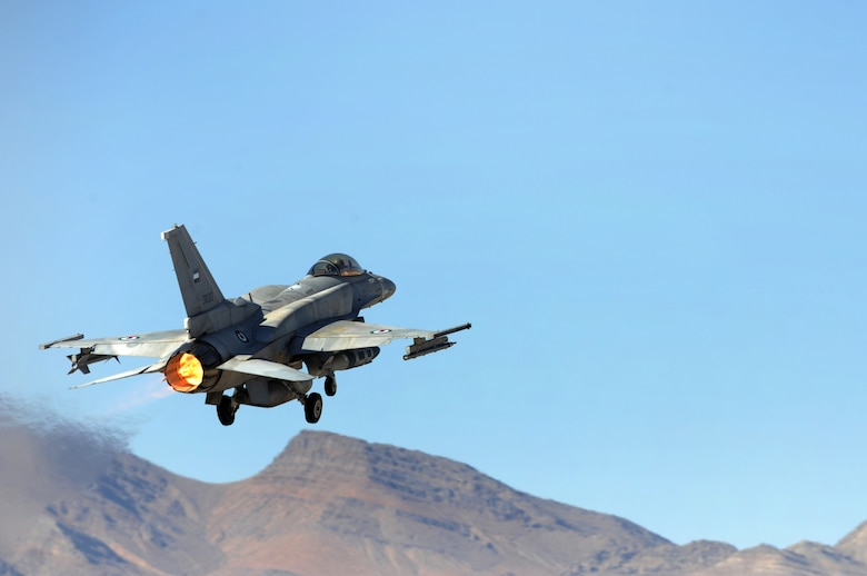 An F-16E from the United Arab Emirates takes off for a training mission during Red Flag Aug. 26, 2009, at Nellis Air Force Base, Nev.  This is the first time the nation has participated in Red Flag, a realistic two-week air combat training exercise conducted over the 15,000-square-mile Nevada Test and Training Range north of Las Vegas.  The exercise ends Sept. 4. (U. S. Air Force photo/Tech. Sgt. Michael R. Holzworth)