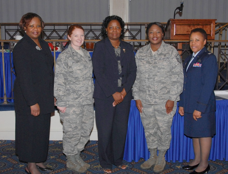 From left to right, W. Ann Jones, the Federal Women's Program manager, 1st Lt. Gillian Levy, Ms. Pat Humphries, Master Sgt. Patricia Gaspard and keynote speaker Col. Barbara J. Gilchrist, director of the Defense Financial Management and Comptroller School at Maxwell. (U.S. Air Force photo/Roger Curry)