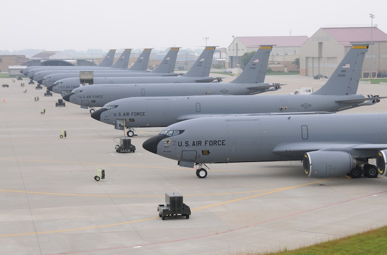 "All eight KC-135 ""R"" model aircraft assigned to the 185th Air Refueling Wing of the Iowa Air National Guard are on the ramp at Sioux City, Iowa. Given the operations tempo for the mid-air refueling aircraft this is a rare site for the Guard Wing based in Sioux City. The photo opportunity lasted for only a few hours on Tuesday, September 8, 2009.