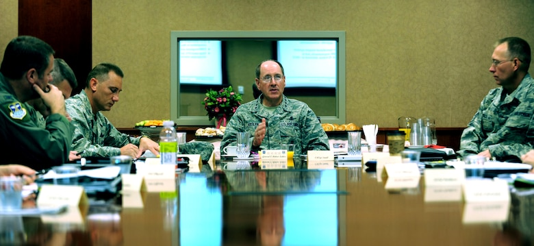 Gen. C. Robert Kehler, Air Force Space Command commander, discusses base security during a briefing at Buckley Air Force Base, Colo. Sept. 1. During his visit, the general discussed Buckley's ongoing growth and the base's importance to the Air Force Space Command mission. (U.S. Air Force photo by Airman 1st Class Paul Labbe)