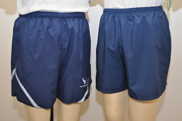 Air Force officials at Wright-Patterson Air Force Base, Ohio, will unveil new lightweight running shorts this month in time for the Air Force Marathon Sept. 19. The new shorts (at right) feature a durable, quick-drying nylon shell with polyester brief for moisture management, a 4.5 inch inseam, drawstring waist and oversized inside back key pocket. They are the same shade of blue as the previous physical training uniform shorts (left), without the Air Force emblem or reflective material. They will be available for sale only at Army and Air Force Exchange Service Military Clothing Sales Stores. (U.S. Air Force photo/Brad Jessmer)