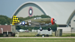 DAYTON, Ohio - A giant scale radio-controlled aircraft comes in for a landing during the 14th annual Giant Scale Radio-Controlled Model Aircraft Air Show at the National Museum of the U.S. Air Force. (U.S. Air Force photo by Dick Brice)