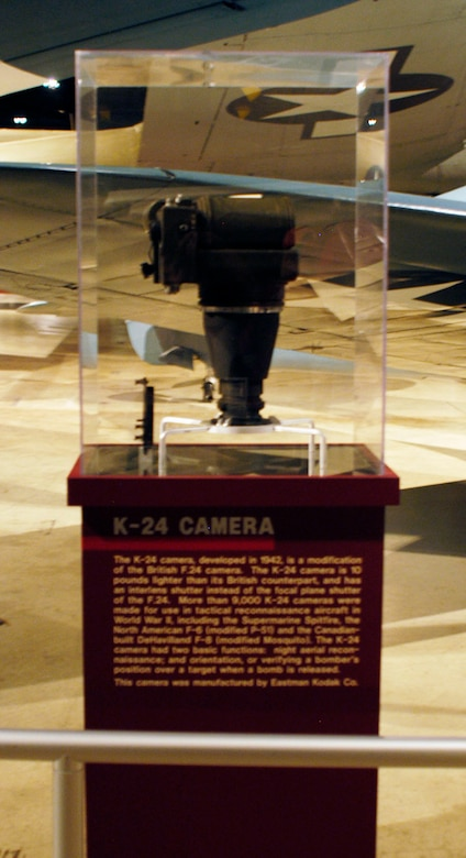 DAYTON, Ohio -- K-24 camera in the World War II Gallery at the National Museum of the U.S. Air Force. (U.S. Air Force photo)