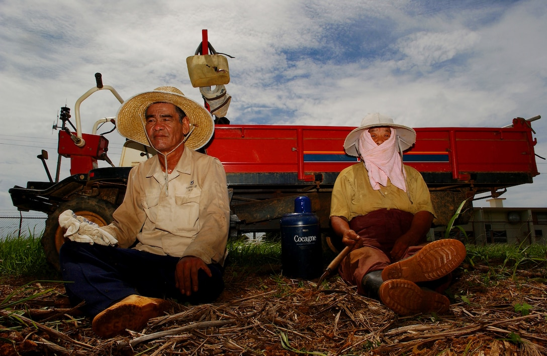 A tacit farmer couple takes a brief moment to rest from the summer heat and humidity after working in the sugarcane field. Soon the day will end and tomorrow they'll begin where they left off, devoting themselves to the cultivation of their crops in an area fenced-in and well-guarded.   (U.S. Air Force photo/Tech. Sgt. Rey Ramon)
