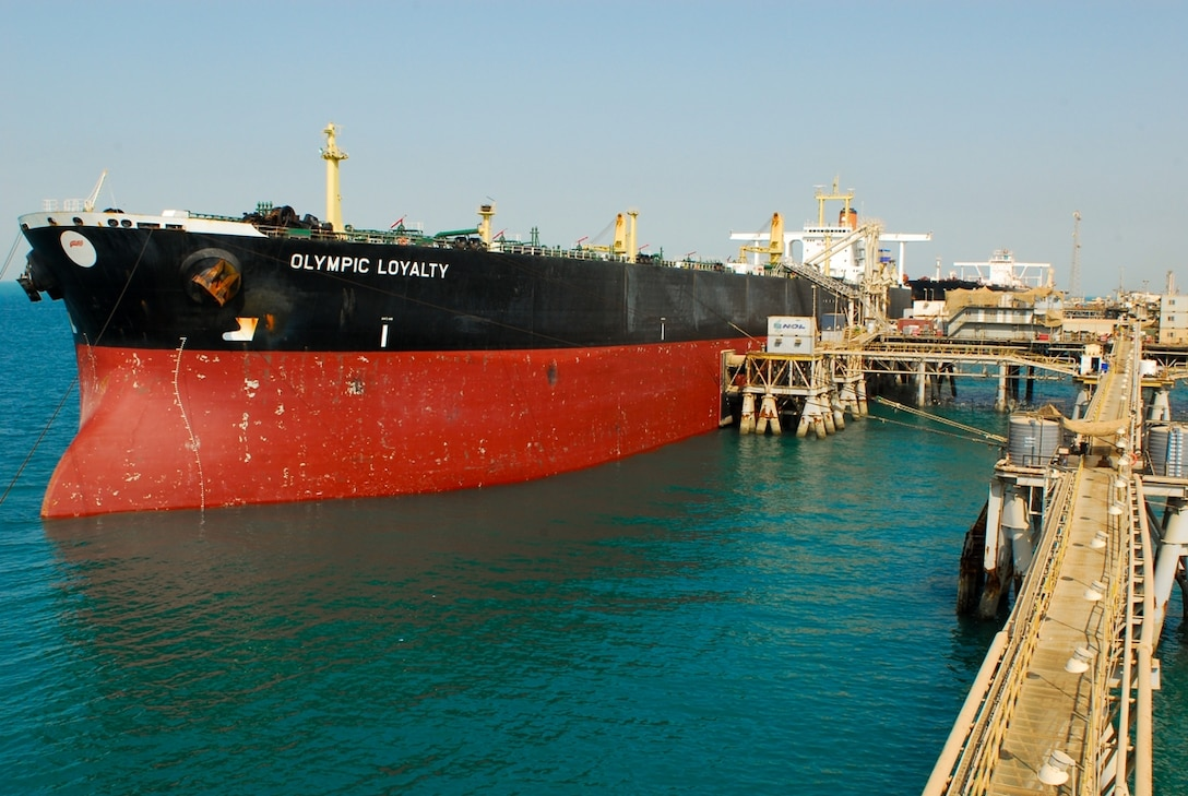 An oil tanker is docked at the Al Basrah Oil Terminal in the Persian Gulf, 30 miles off the coast of Iraq. Workers from the Basra-based Southern Oil Company man the platform and ensure the tankers receive the oil they came for. When this tanker receives its load the red water line will be submerged leaving only the black part of the hull above water. U.S. Army photo by Spc. Darryl L. Montgomery