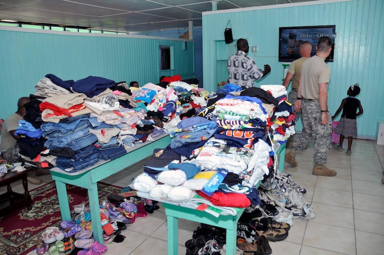 Donated clothes sit on tables for the children of Joshua's Place Orphanage Sept. 9, 2009. in Georgetown, Guyana. Soldiers from the Georgia Army National Guard brought 32 duffel bags of toys and clothes and over $3,800 in donated items to the orphanage. (U.S. Air Force photo by Airman 1st Class Perry Aston) (Released)