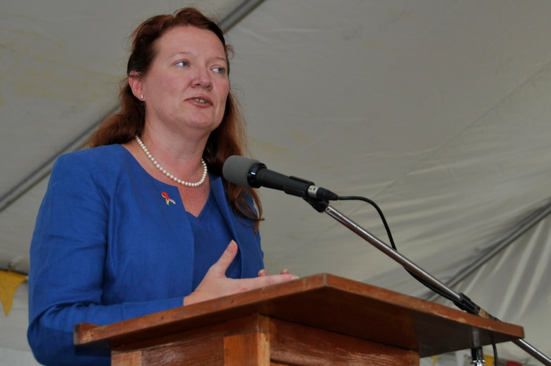 Karen Williams, U.S. Embassy Charg? d'Affaires, speaks during the opening ceremony of the new La Pentinence Medical Clinic Sept. 10, 2009, in Georgetown, Guyana. The $350,000 structure was built by Soldiers of Georgia Army National Guard.  (U.S. Air Force photo by Airman 1st Class Perry Aston) (Released)