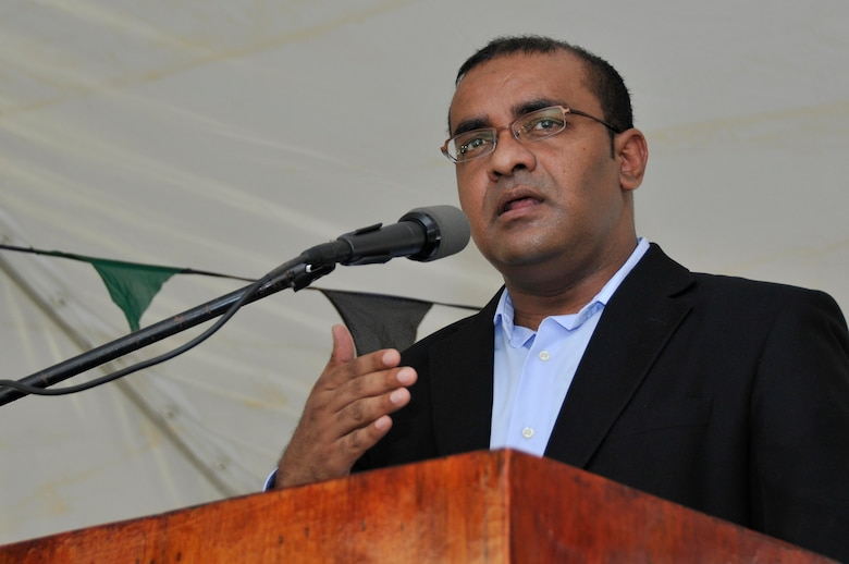 Bharrat Jagdeo, President of Guyana, speaks during the opening ceremony for the La Pentinence Medical Clinic Sept. 10, 2009, in Georgetown, Guyana. The $350,000 construction project was part of New Horizons Guyana, a U.S. Southern Command-sponsored annual exercise starting July 1 designed to strengthen ties with partner nations in Central and South America through combined quality-of-life improvement projects. (U.S. Air Force photo by Airman 1st Class Perry Aston) (Released)