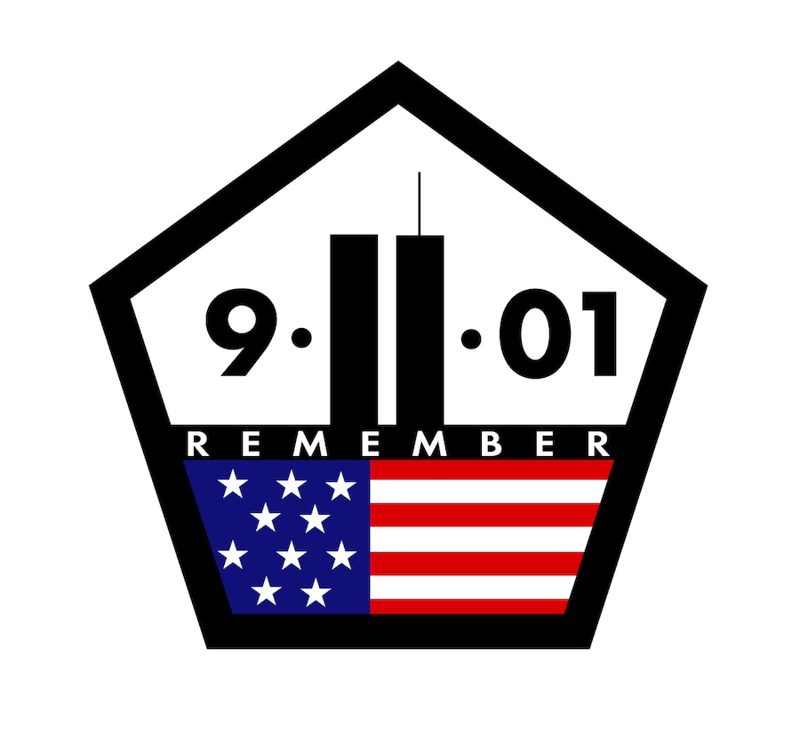 """In this """"Remember 9-11"""" illustration, the """"11"""" is designed to resemble the twin towers of the World Trade Center, while the five-sided border represents the Pentagon. Both of these landmarks were attacked on Sept. 11, 2001, and nearly 3,000 people were killed. (image by David Paranteau)"""