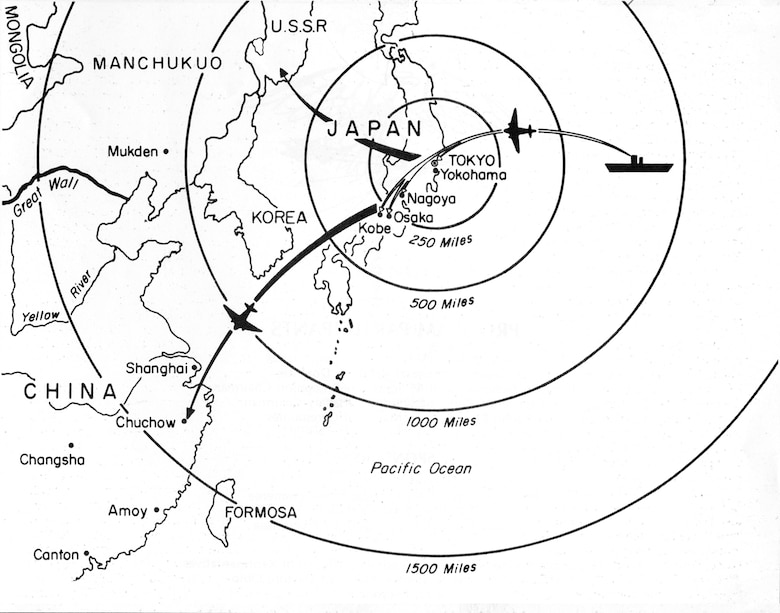 Map showing Doolittle Raid targets and landing fields.