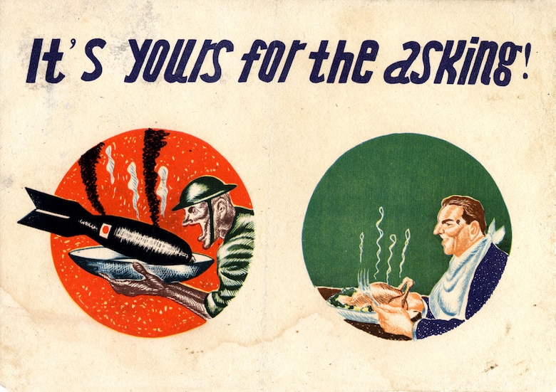 Japanese-made leaflets were designed to demoralize and entice Allied personnel to surrender. (U.S. Air Force photo)