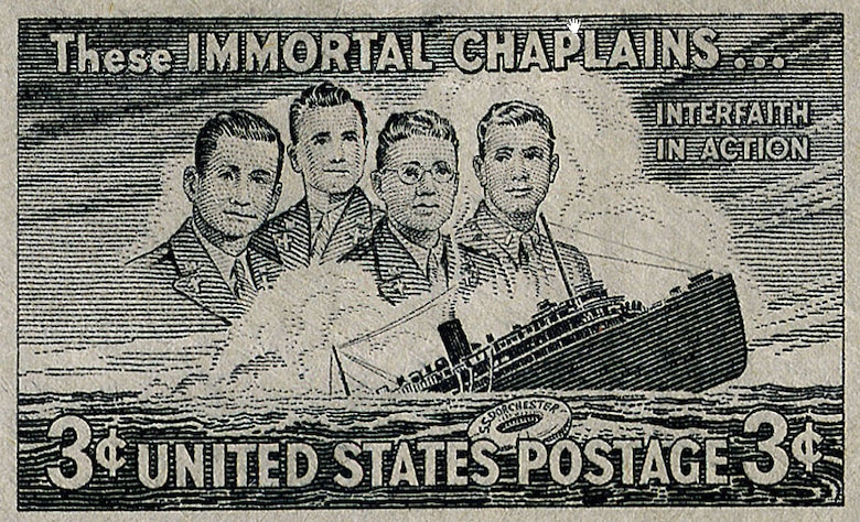 In 1948 the U.S. Postal Service issued this stamp to honor the four chaplains. (U.S. Air Force photo)